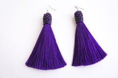 Handmade purple earrings-brushes with beads.  Stock Image