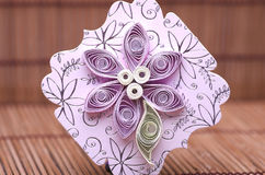 Handmade quilling paper craft, hobby practise. Royalty Free Stock Photo