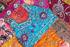 Handmade quilt from India. Handmade patchwork quilt from India as background royalty free stock photography