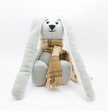 Handmade rabbit, gray background Stock Image