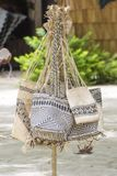 Handmade raffia bags on South Pacific Island Royalty Free Stock Image