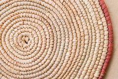 Handmade Raffia Place Mat Extra Rough Plaiting Grunge Texture Detail. Traditional Handcraft Weave Thai African Style Pattern Stock Photos