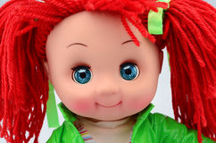 Handmade rag doll portrait isolated on white Stock Photos