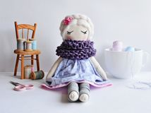 Handmade rag doll with white hair stock photo