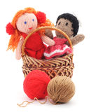 Handmade rag dolls. Handmade rag dolls on a white background Royalty Free Stock Photos