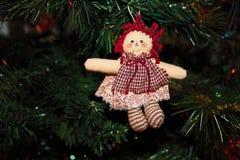 Free Handmade Raggedy Ann Doll Ornament On The Christmas Tree Stock Photography - 131789982