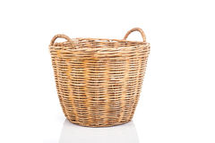 Handmade rattan basket isolated on white background Stock Photos