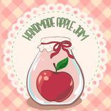 Handmade red apple jam jar on lace doily label and gingham tablecloth. Vector illustration, eps 10. Jam label template for package. Design, logo, menu, interior Royalty Free Stock Photography