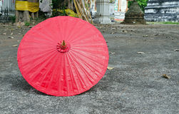 A handmade red, Asian parasol or umbrella Royalty Free Stock Image