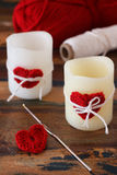 Handmade red crochet heart for candle for Saint Valentine's day Stock Photo