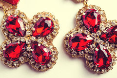 Handmade red earrings with jewels. Vintage style Royalty Free Stock Photography