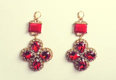 Handmade red earrings with jewels. Vintage style Stock Photography