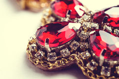 Handmade red earrings with jewels. Vintage style Royalty Free Stock Images