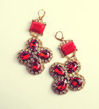 Handmade red earrings with jewels. Vintage style Stock Images