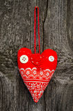Handmade red fabric heart Stock Photography