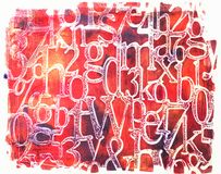 Handmade Grungy Red Fonts Isolated on White Background. Handmade red grungy fonts in square shape made with acrylic paints and stencil isolated on white stock images