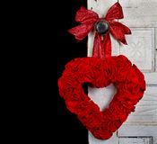Handmade Red Heart on Vintage Door Stock Image