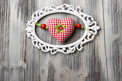 Handmade red heart Stock Images