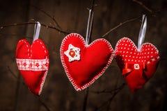 Handmade red hearts Royalty Free Stock Photos