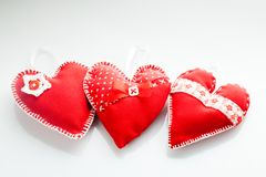 Handmade red hearts Royalty Free Stock Photography