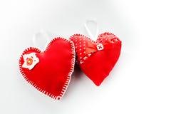 Handmade red hearts Stock Photography