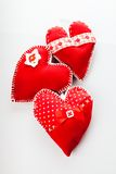 Handmade red hearts Stock Images