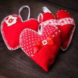 Handmade red hearts Royalty Free Stock Images