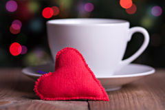 Handmade red textile heart Stock Photos