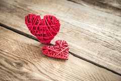 Handmade retro hearts on the wooden background Royalty Free Stock Photos