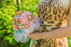Handmade ribbon wedding bouquete. Stock Image