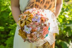 Handmade ribbon wedding bouquete. Stock Photography