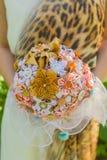 Handmade ribbon wedding bouquete. Stock Photos