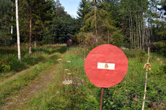 Handmade road sign in summer  forest Royalty Free Stock Photo