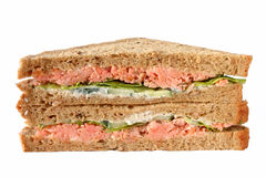 Handmade roast salmon sandwiches. Royalty Free Stock Photography