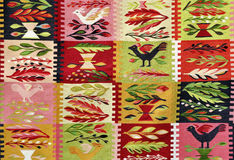 Romanian traditional rug. Woven with colored wool royalty free stock photo