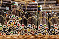 Handmade rustic colored pencils Stock Image