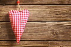 Handmade rustic red and white checked heart Royalty Free Stock Photo