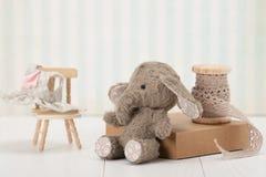 Handmade słoń miękkiej części zabawka Tradycyjny miś pluszowy Obraz Royalty Free