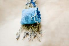 Lavender sachet. Handmade sachet for dry lavender Stock Photos
