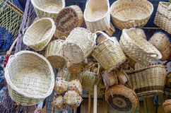 Handmade, sale of wicker baskets Stock Photo