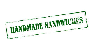 Handmade sandwiches. Rubber stamp with text handmade sandwiches inside,  illustration Stock Image