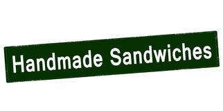 Handmade sandwiches. Rubber stamp with text handmade sandwiches inside,  illustration Stock Photos
