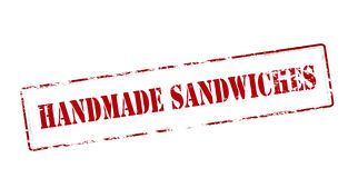 Handmade sandwiches. Rubber stamp with text handmade sandwiches inside, vector illustration Stock Photos