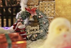 Handmade Santa Claus and cookie royalty free stock image