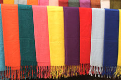 Handmade scarves of different colors Stock Photo