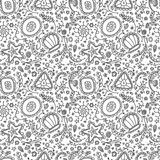 Handmade seamless pattern or background with abstract protozoa or abstract plankton in black white for coloring page Royalty Free Stock Image