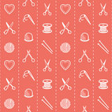 Handmade  seamless pattern with scissors, needle and thread, thimble, knitting needles, a yarn ball, spool and Royalty Free Stock Image