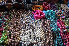 Handmade seeds necklace. Rustic colorfull adorn selled in Manaus, Brazil. Arts everywhere royalty free stock photo