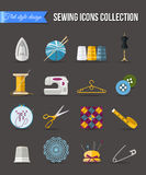 Handmade and sewing icons set. Flat style design Stock Photo
