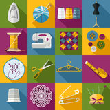 Handmade and sewing icons set. Flat style design Royalty Free Stock Images